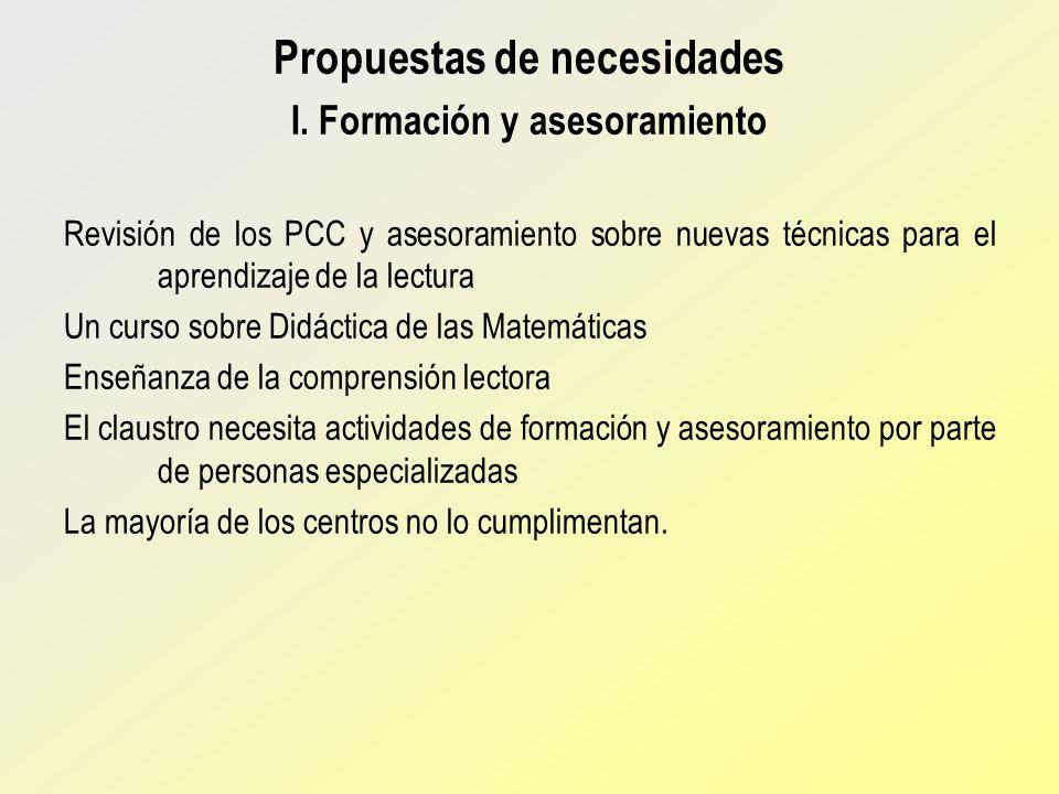 Propuestas de necesidades I. Formación y asesoramiento Revisión de los PCC y asesoramiento sobre nuevas técnicas para el aprendizaje de la lectura Un