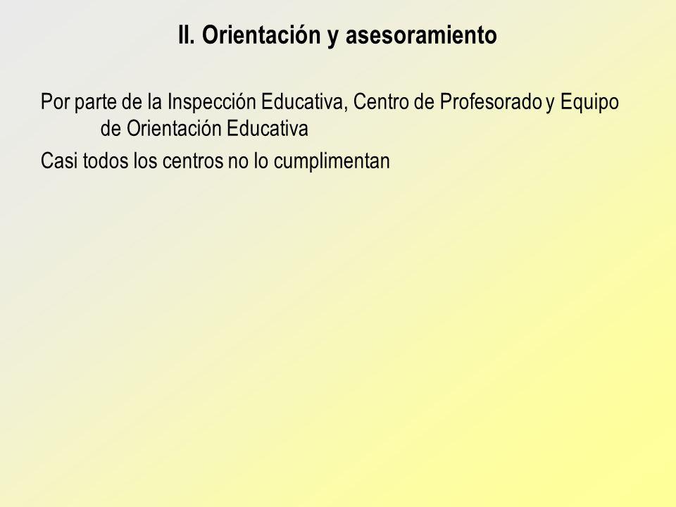 II. Orientación y asesoramiento Por parte de la Inspección Educativa, Centro de Profesorado y Equipo de Orientación Educativa Casi todos los centros n