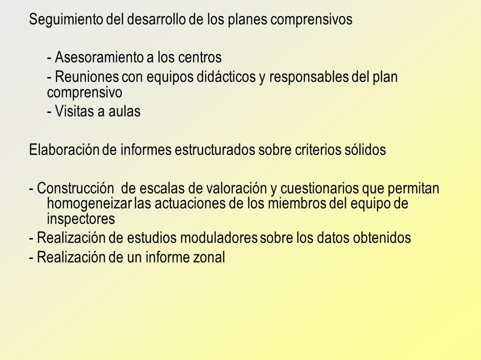 Seguimiento del desarrollo de los planes comprensivos - Asesoramiento a los centros - Reuniones con equipos didácticos y responsables del plan compren