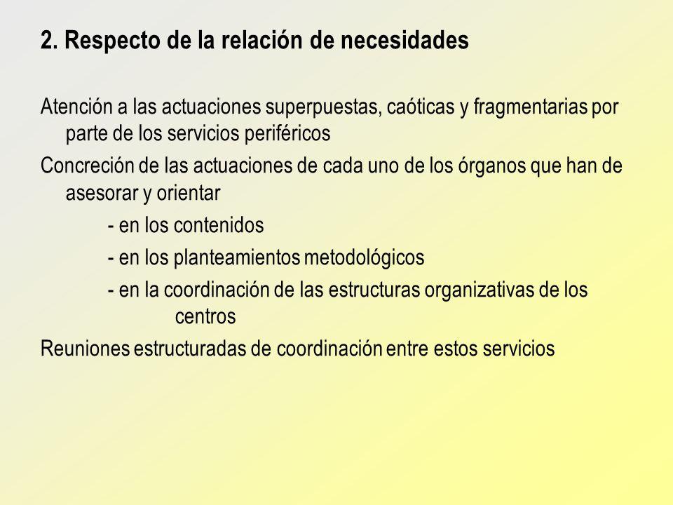 2. Respecto de la relación de necesidades Atención a las actuaciones superpuestas, caóticas y fragmentarias por parte de los servicios periféricos Con