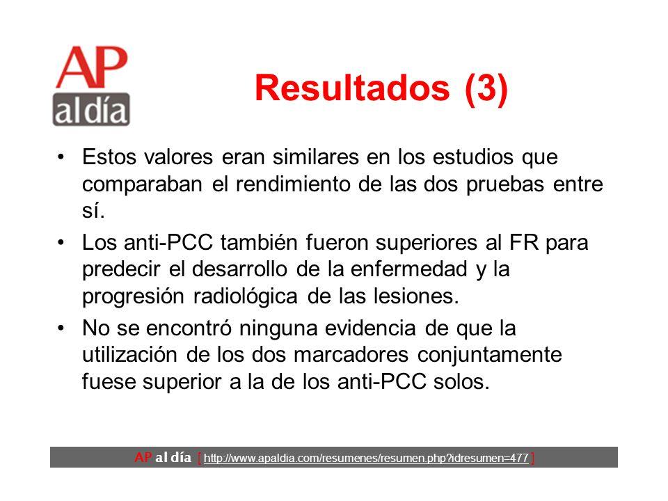 AP al día [ http://www.apaldia.com/resumenes/resumen.php?idresumen=477 ] Conclusiones Los autores concluyen que los anti- PCC: –son más específicos que el FR en el diagnóstico de la AR y –predicen mejor el desarrollo de lesiones erosivas.