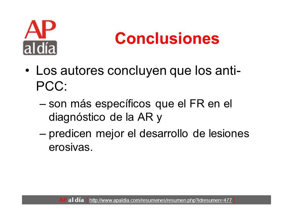 AP al día [ http://www.apaldia.com/resumenes/resumen.php idresumen=477 ] Conclusiones Los autores concluyen que los anti- PCC: –son más específicos que el FR en el diagnóstico de la AR y –predicen mejor el desarrollo de lesiones erosivas.