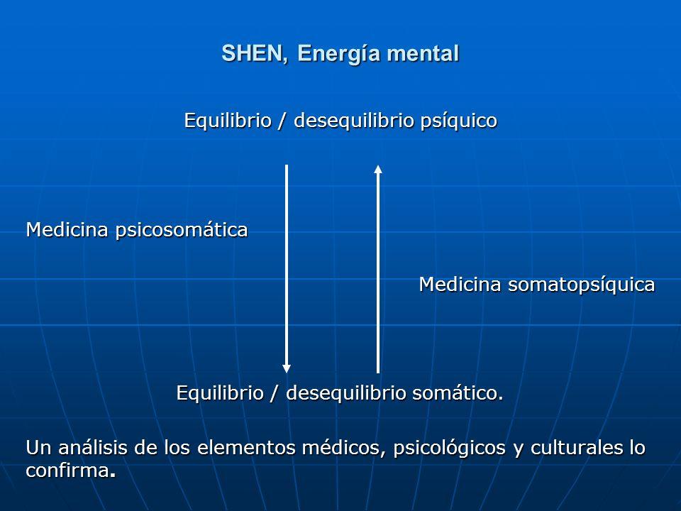 SHEN, Energía mental Equilibrio / desequilibrio psíquico Medicina psicosomática Medicina somatopsíquica Equilibrio / desequilibrio somático. Un anális