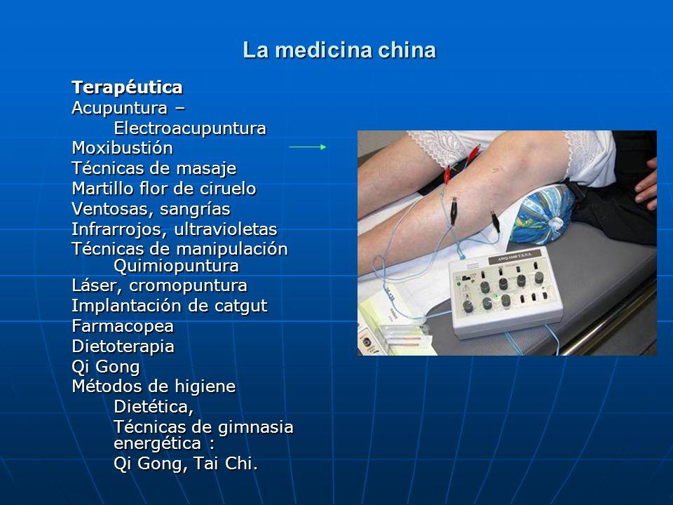 La medicina china La medicina china Terapéutica Acupuntura – ElectroacupunturaMoxibustión Técnicas de masaje Martillo flor de ciruelo Ventosas, sangrí