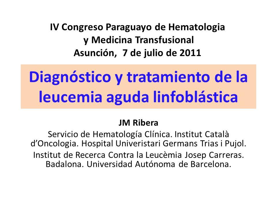 Diagnóstico y tratamiento de la leucemia aguda linfoblástica JM Ribera Servicio de Hematología Clínica. Institut Català dOncologia. Hospital Univerist
