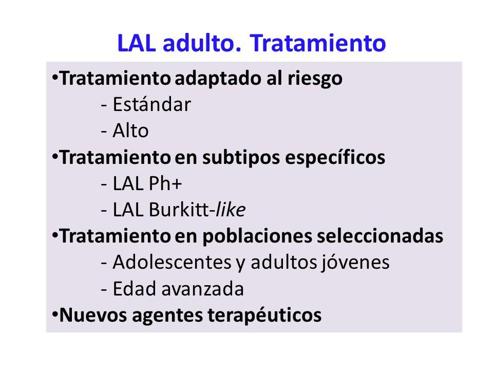 LAL adulto. Tratamiento Tratamiento adaptado al riesgo - Estándar - Alto Tratamiento en subtipos específicos - LAL Ph+ - LAL Burkitt-like Tratamiento