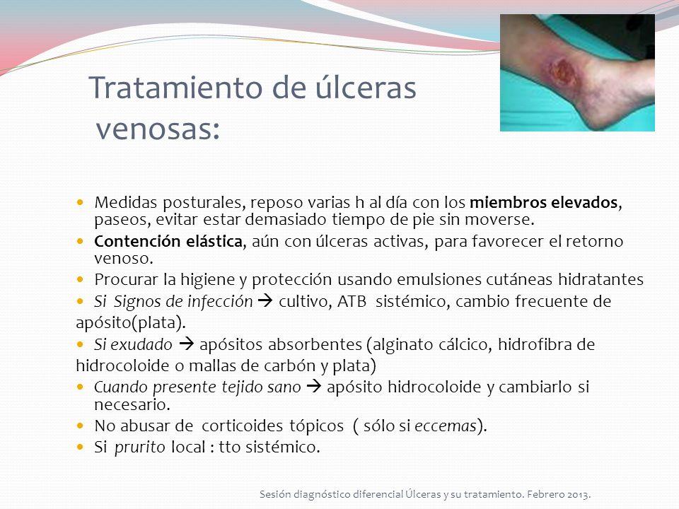 Diagnóstico diferencial: ÚlceraPOR PRESIÓNVENOSASARTERIALESNEUROPÁTICAS Origen Presión tisularInsuficiencia valvular venas MMII Alteración del flujo sanguíneo arterial Alteración de la sensibilidad F.R.