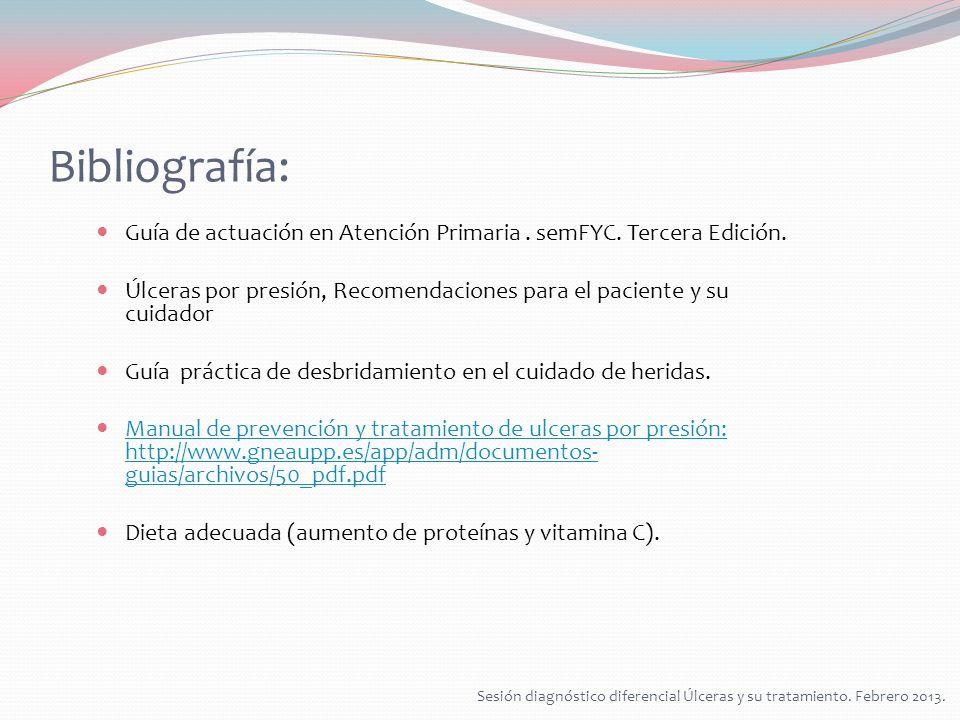 Bibliografía: Guía de actuación en Atención Primaria. semFYC. Tercera Edición. Úlceras por presión, Recomendaciones para el paciente y su cuidador Guí