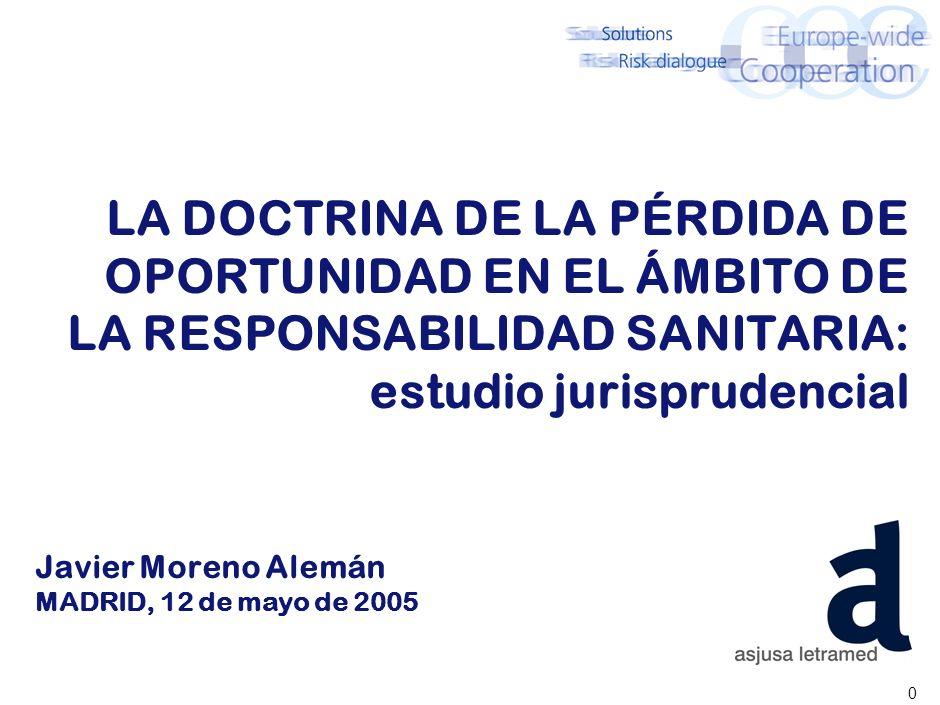 0 LA DOCTRINA DE LA PÉRDIDA DE OPORTUNIDAD EN EL ÁMBITO DE LA RESPONSABILIDAD SANITARIA: estudio jurisprudencial Javier Moreno Alemán MADRID, 12 de mayo de 2005