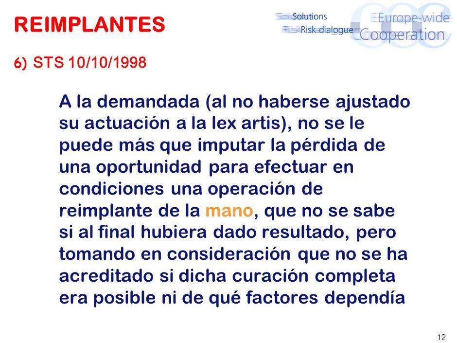 12 REIMPLANTES 6) STS 10/10/1998 A la demandada (al no haberse ajustado su actuación a la lex artis), no se le puede más que imputar la pérdida de una