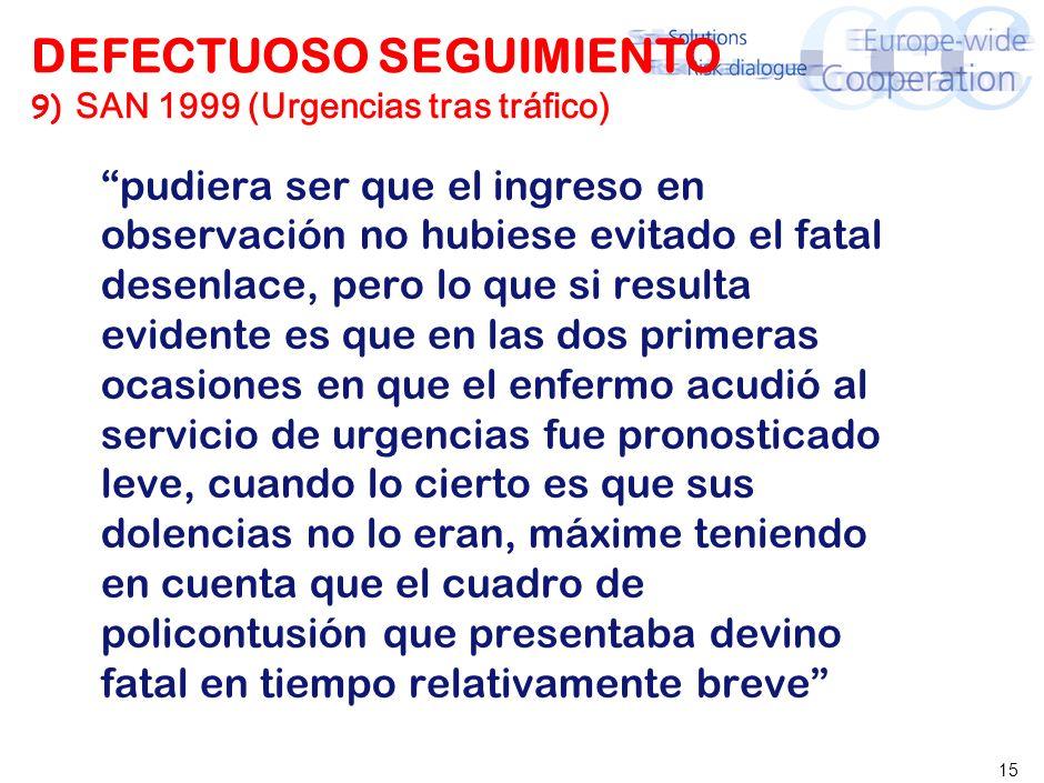 15 DEFECTUOSO SEGUIMIENTO 9) SAN 1999 (Urgencias tras tráfico) pudiera ser que el ingreso en observación no hubiese evitado el fatal desenlace, pero l