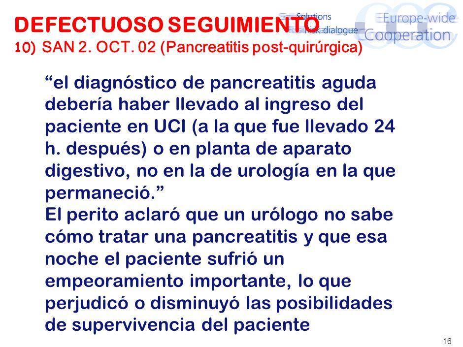 16 DEFECTUOSO SEGUIMIENTO 10) SAN 2. OCT. 02 (Pancreatitis post-quirúrgica) el diagnóstico de pancreatitis aguda debería haber llevado al ingreso del