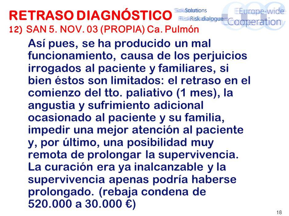 18 RETRASO DIAGNÓSTICO 12) SAN 5. NOV. 03 (PROPIA) Ca. Pulmón Así pues, se ha producido un mal funcionamiento, causa de los perjuicios irrogados al pa