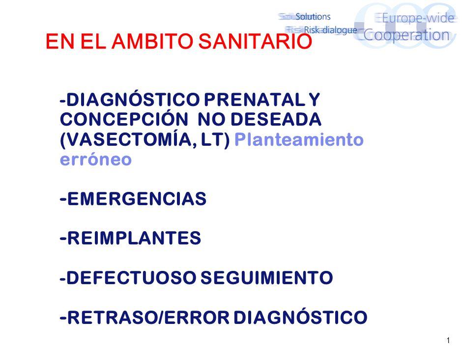 1 EN EL AMBITO SANITARIO -DIAGNÓSTICO PRENATAL Y CONCEPCIÓN NO DESEADA (VASECTOMÍA, LT) Planteamiento erróneo - EMERGENCIAS - REIMPLANTES -DEFECTUOSO SEGUIMIENTO - RETRASO/ERROR DIAGNÓSTICO