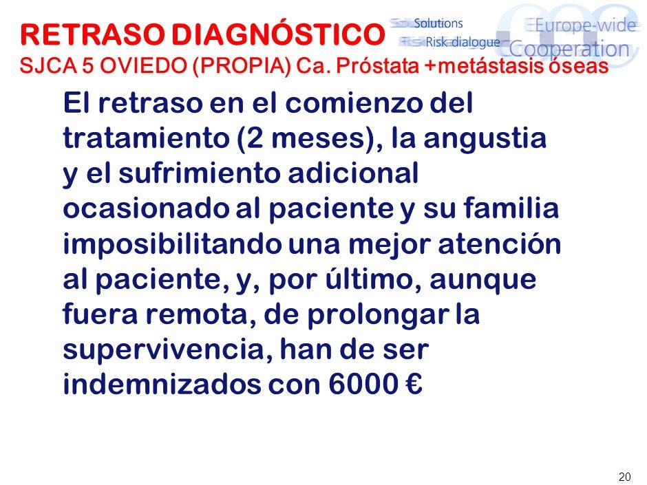 20 RETRASO DIAGNÓSTICO SJCA 5 OVIEDO (PROPIA) Ca. Próstata +metástasis óseas El retraso en el comienzo del tratamiento (2 meses), la angustia y el suf