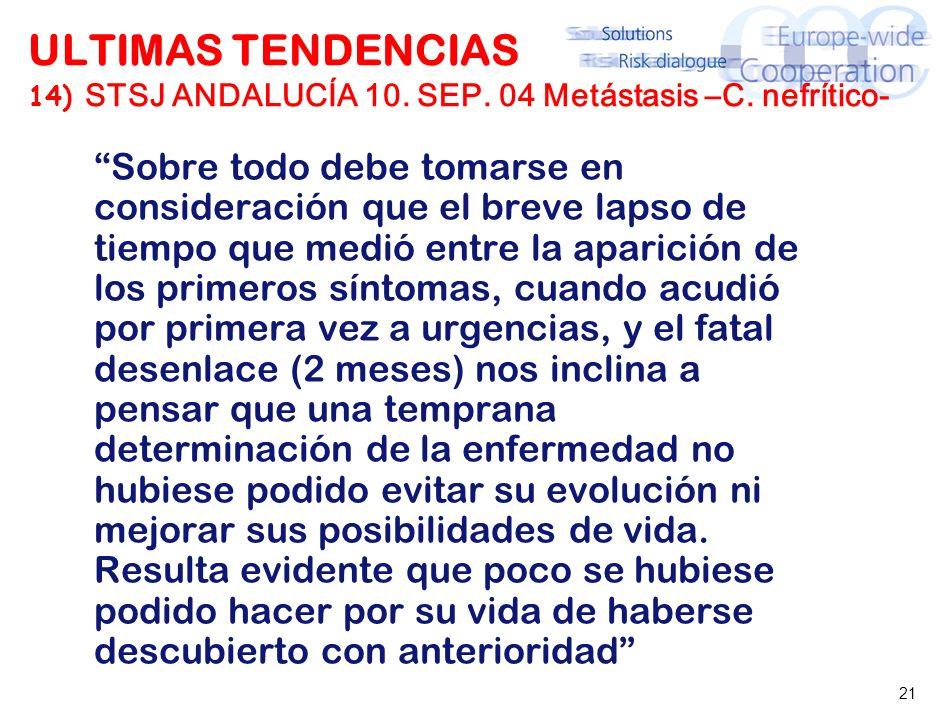 21 ULTIMAS TENDENCIAS 14) STSJ ANDALUCÍA 10. SEP. 04 Metástasis –C. nefrítico- Sobre todo debe tomarse en consideración que el breve lapso de tiempo q
