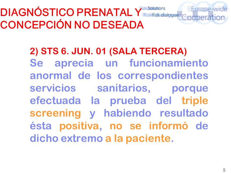 5 DIAGNÓSTICO PRENATAL Y CONCEPCIÓN NO DESEADA 2) STS 6. JUN. 01 (SALA TERCERA) Se aprecia un funcionamiento anormal de los correspondientes servicios