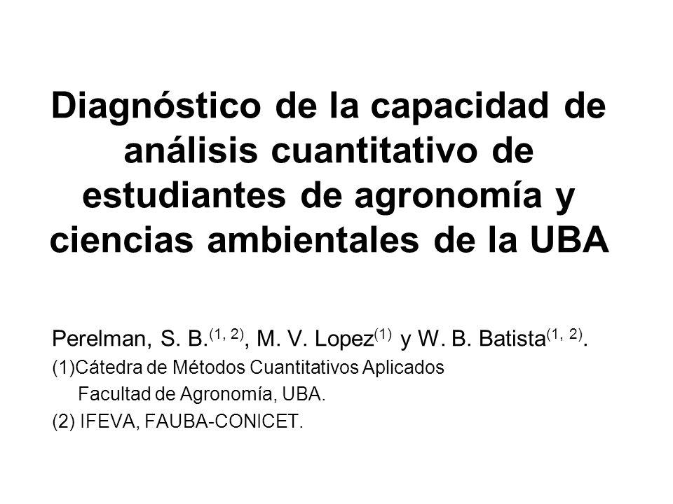 Diagnóstico de la capacidad de análisis cuantitativo de estudiantes de agronomía y ciencias ambientales de la UBA Perelman, S. B. (1, 2), M. V. Lopez