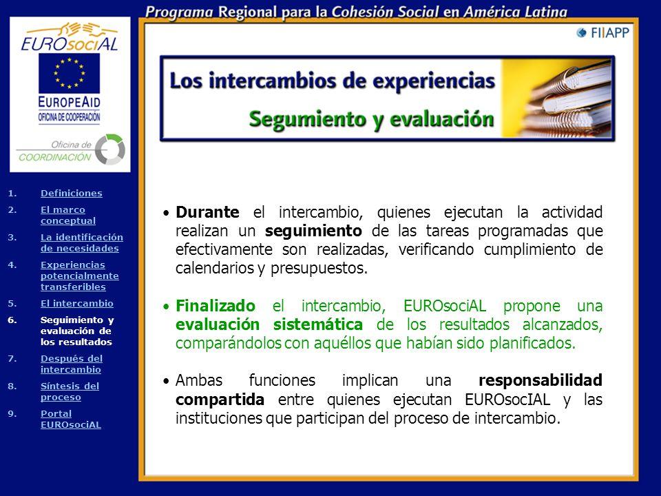 Las modalidades posibles de intercambio incluyen: Las pasantías o visitas a las instituciones que han ejecutado la experiencia.