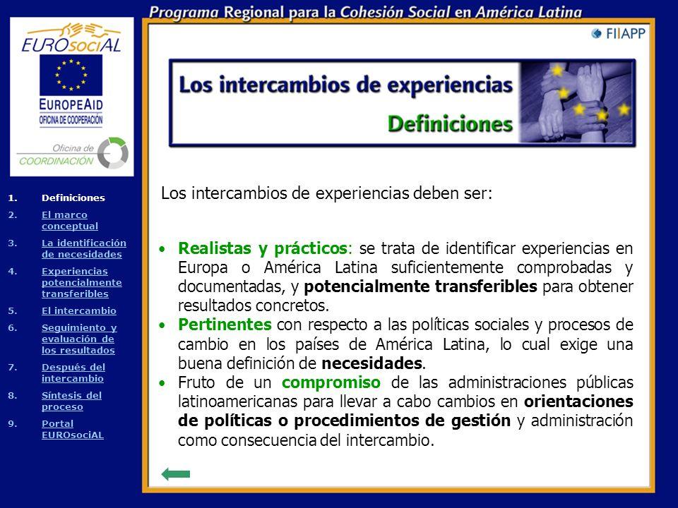 Un intercambio de experiencias es un proceso de transferencia entre administraciones públicas de lecciones aprendidas y buenas prácticas acerca del diseño, aplicación y gestión de políticas sociales con repercusiones sobre la cohesión social.