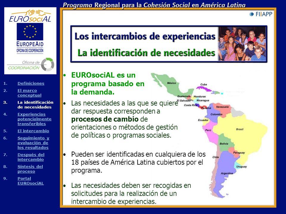 Los intercambios que se identifican en un periodo determinado están basados en un diagnóstico de las realidades europeas y latinoamericanas que da lugar a un marco conceptual para cada sector (educación, empleo, fiscalidad, justicia y salud).