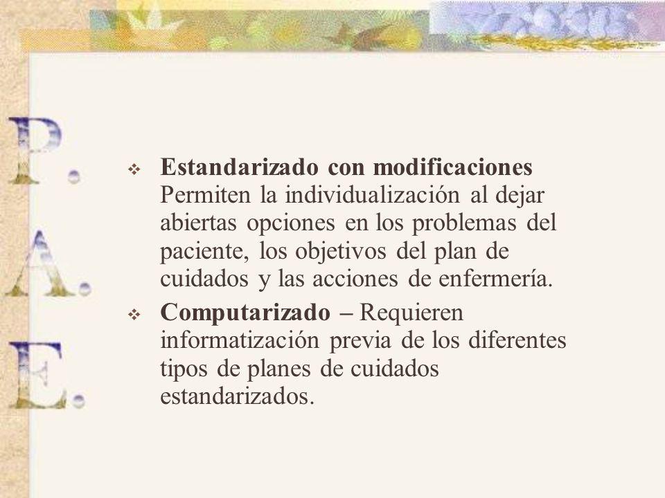 TIPOS DE PLANES DE CUIDADOS Individualizado – Paciente en concreto. Se necesita más tiempo en su elaboración. Dificultades para desarrollar sus creenc