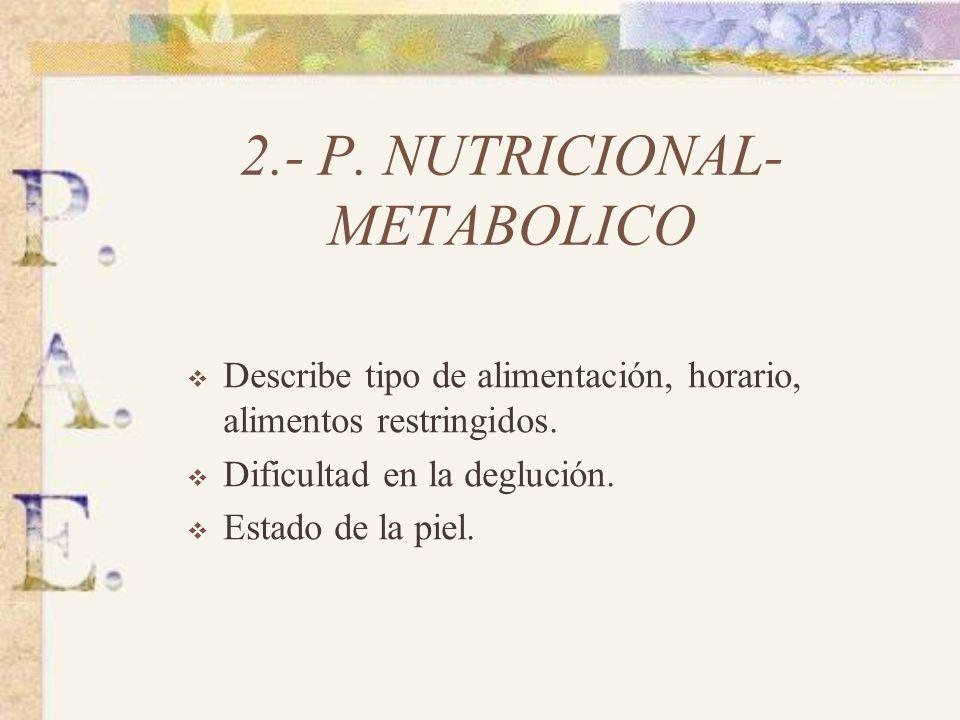2.- P.NUTRICIONAL- METABOLICO Describe tipo de alimentación, horario, alimentos restringidos.