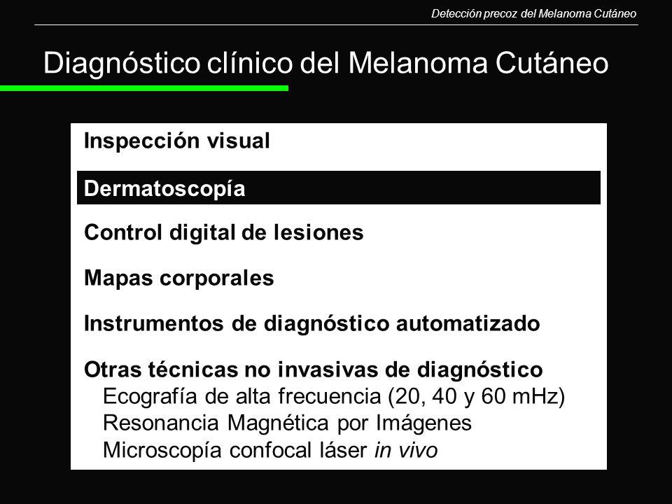 Diagnóstico clínico del Melanoma Cutáneo Inspección visual Control digital de lesiones Mapas corporales Instrumentos de diagnóstico automatizado Otras
