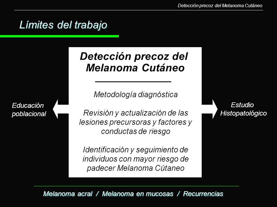 Detección precoz del Melanoma Cutáneo Estudio Histopatológico Educación poblacional Límites del trabajo Metodología diagnóstica Revisión y actualizaci