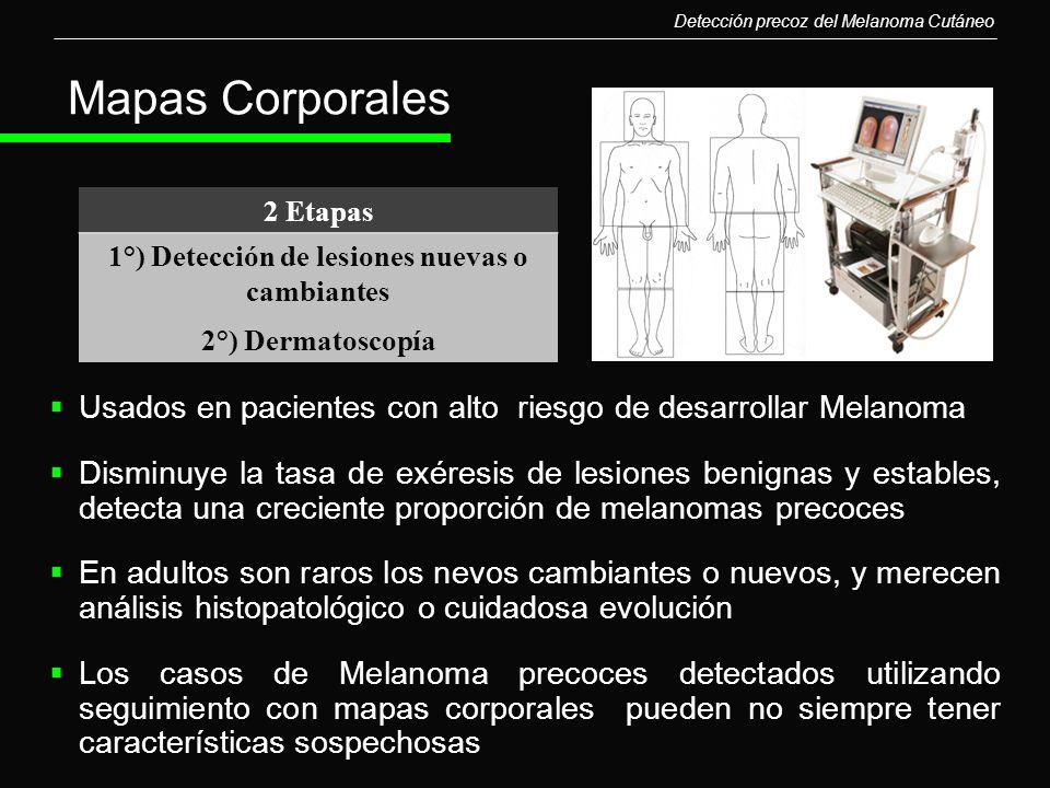 Mapas Corporales Usados en pacientes con alto riesgo de desarrollar Melanoma Disminuye la tasa de exéresis de lesiones benignas y estables, detecta un