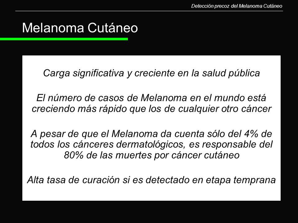 Detección precoz del Melanoma Cutáneo Carga significativa y creciente en la salud pública El número de casos de Melanoma en el mundo está creciendo má
