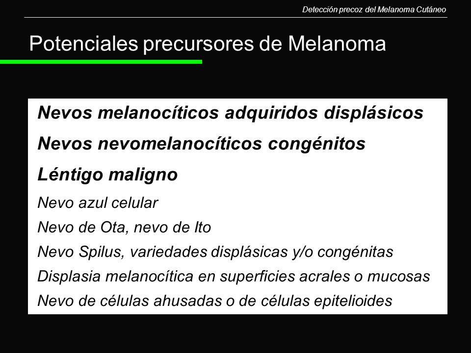 Nevos melanocíticos adquiridos displásicos Nevos nevomelanocíticos congénitos Léntigo maligno Nevo azul celular Nevo de Ota, nevo de Ito Nevo Spilus,
