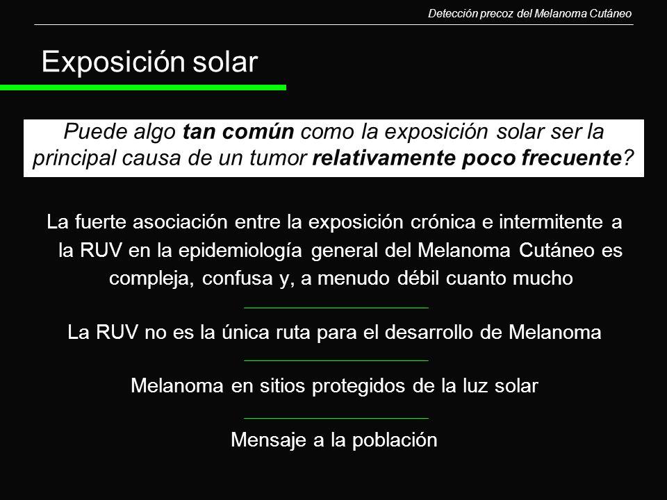 La fuerte asociación entre la exposición crónica e intermitente a la RUV en la epidemiología general del Melanoma Cutáneo es compleja, confusa y, a me