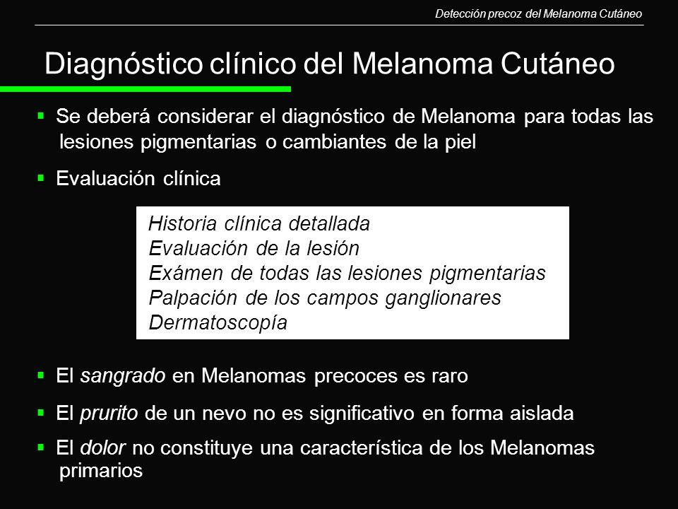 Diagnóstico clínico del Melanoma Cutáneo Se deberá considerar el diagnóstico de Melanoma para todas las lesiones pigmentarias o cambiantes de la piel