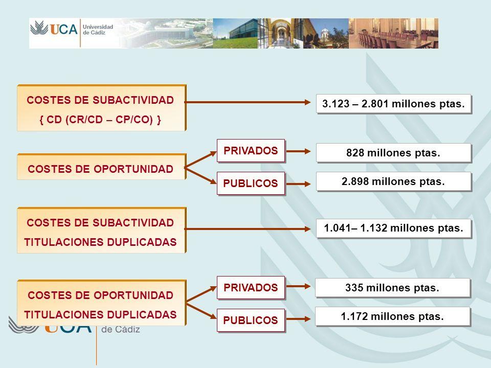 COSTES DE SUBACTIVIDAD { CD (CR/CD – CP/CO) } COSTES DE OPORTUNIDAD PRIVADOS 3.123 – 2.801 millones ptas. 828 millones ptas. PUBLICOS 2.898 millones p