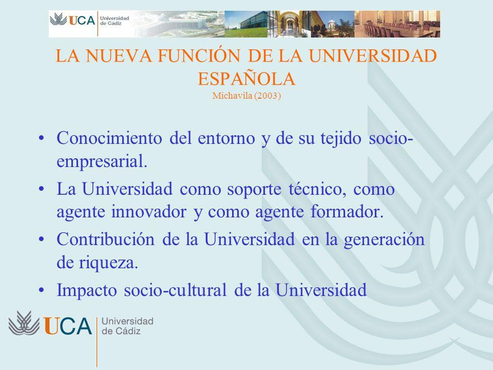 LA NUEVA FUNCIÓN DE LA UNIVERSIDAD ESPAÑOLA Michavila (2003) Conocimiento del entorno y de su tejido socio- empresarial. La Universidad como soporte t