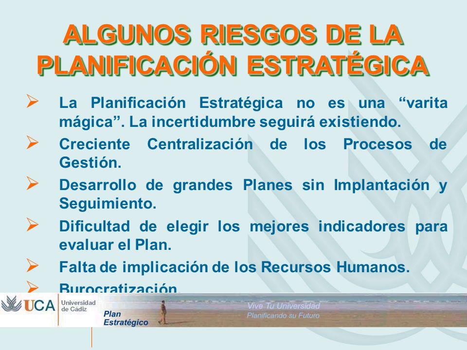ALGUNOS RIESGOS DE LA PLANIFICACIÓN ESTRATÉGICA La Planificación Estratégica no es una varita mágica. La incertidumbre seguirá existiendo. Creciente C