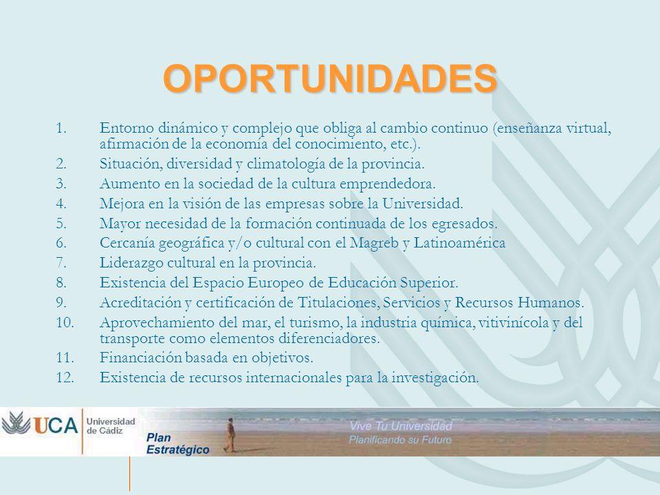 OPORTUNIDADES 1.Entorno dinámico y complejo que obliga al cambio continuo (enseñanza virtual, afirmación de la economía del conocimiento, etc.). 2.Sit