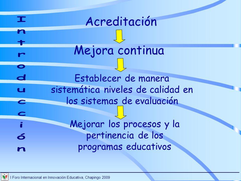 I Foro Internacional en Innovación Educativa, Chapingo 2009 ________________________________________________________________________ Acreditación Evaluación Pertinencia Calidad del aprendizaje