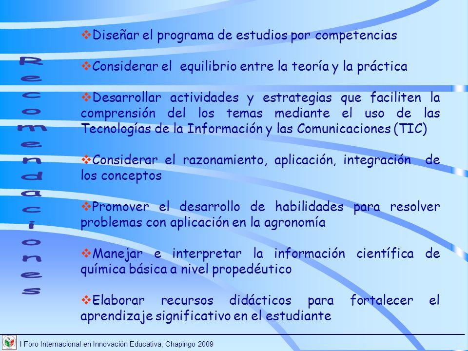 I Foro Internacional en Innovación Educativa, Chapingo 2009 ________________________________________________________________________ Diseñar el progra