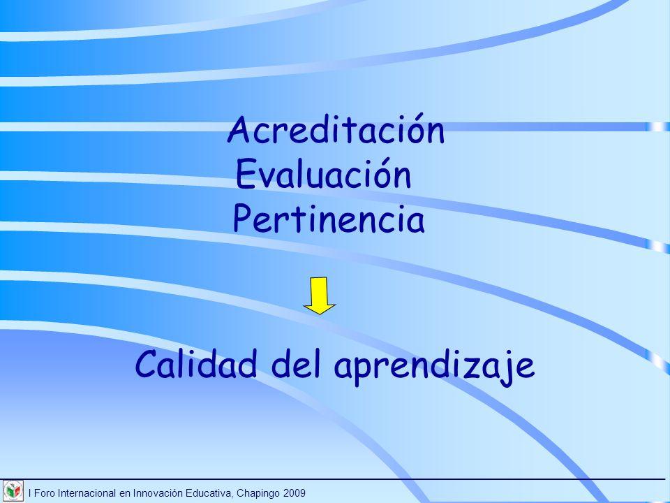 I Foro Internacional en Innovación Educativa, Chapingo 2009 ________________________________________________________________________ Acreditación Eval