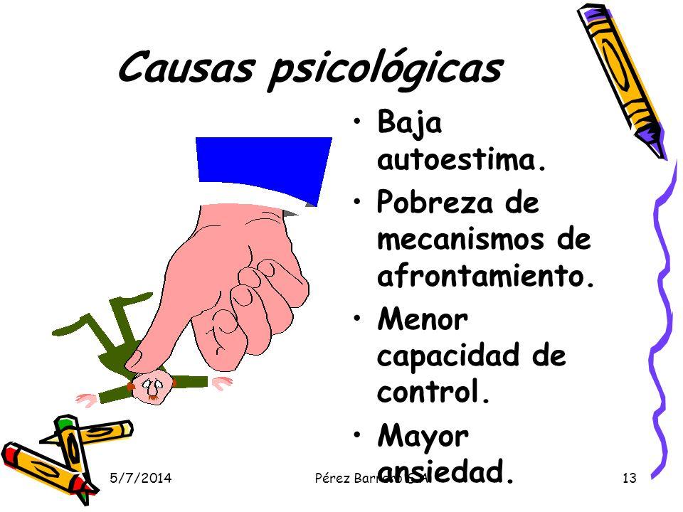5/7/2014Pérez Barrero S.A.13 Causas psicológicas Baja autoestima.