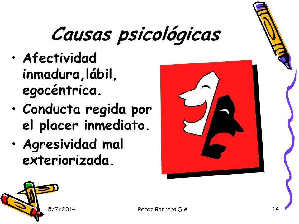 5/7/2014Pérez Barrero S.A.14 Causas psicológicas Afectividad inmadura,lábil, egocéntrica. Conducta regida por el placer inmediato. Agresividad mal ext