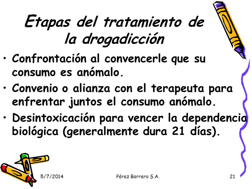 5/7/2014Pérez Barrero S.A.21 E tapas del tratamiento de la drogadicción Confrontación al convencerle que su consumo es anómalo.