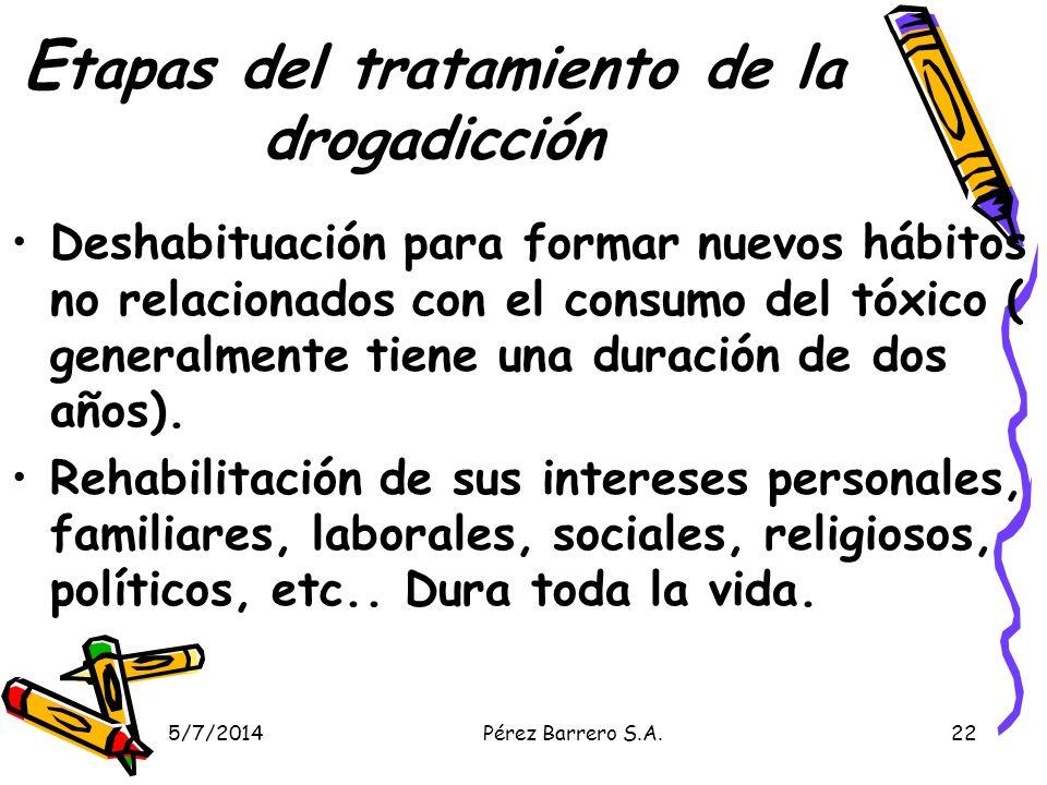 5/7/2014Pérez Barrero S.A.22 E tapas del tratamiento de la drogadicción Deshabituación para formar nuevos hábitos no relacionados con el consumo del tóxico ( generalmente tiene una duración de dos años).