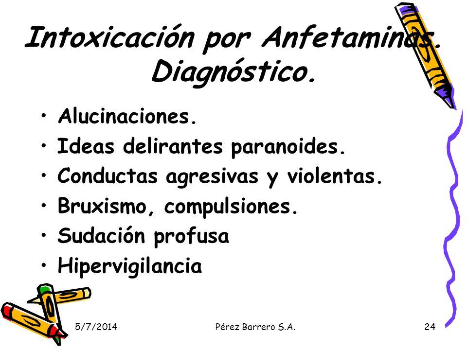 5/7/2014Pérez Barrero S.A.24 Intoxicación por Anfetaminas. Diagnóstico. Alucinaciones. Ideas delirantes paranoides. Conductas agresivas y violentas. B