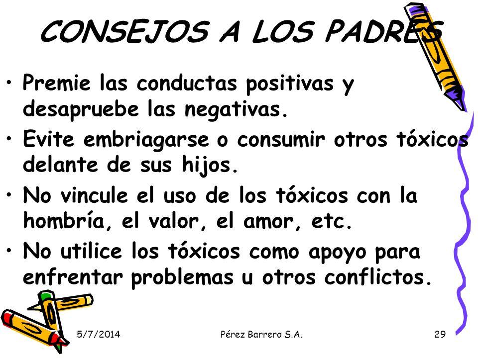 5/7/2014Pérez Barrero S.A.29 CONSEJOS A LOS PADRES Premie las conductas positivas y desapruebe las negativas.