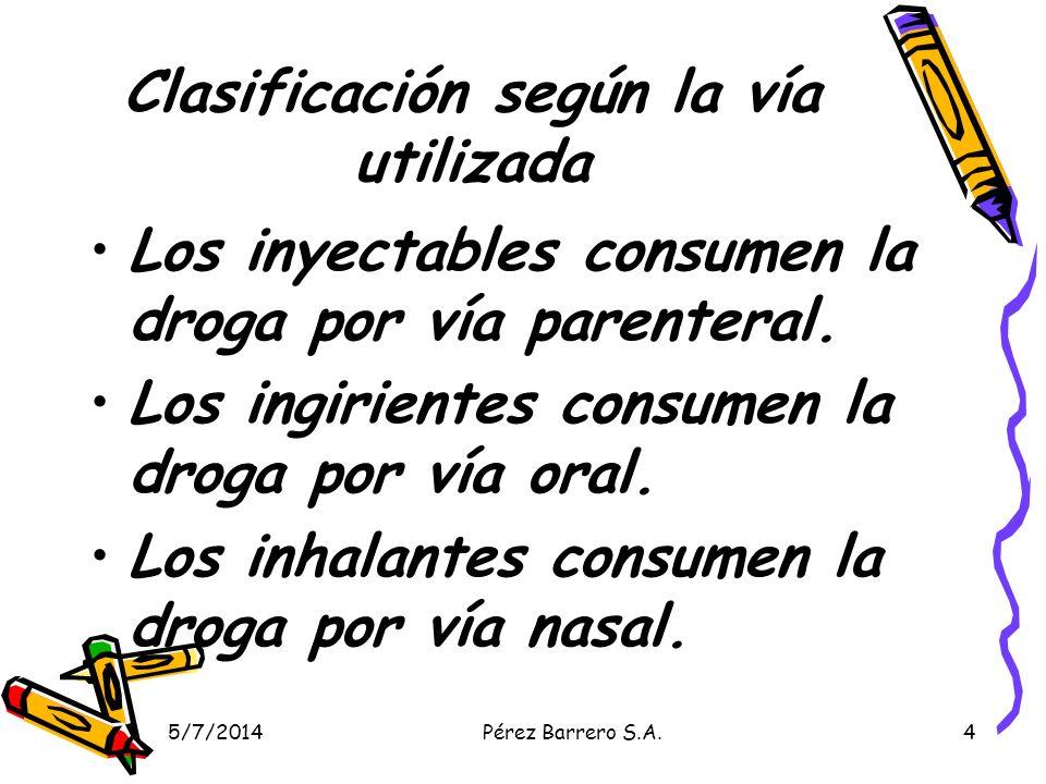 5/7/2014Pérez Barrero S.A.4 Clasificación según la vía utilizada Los inyectables consumen la droga por vía parenteral.