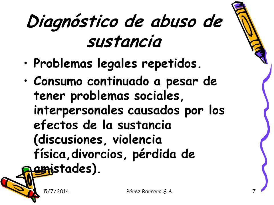 5/7/2014Pérez Barrero S.A.18 Signos de drogadicción en la adolescencia Disminución del rendimiento escolar.