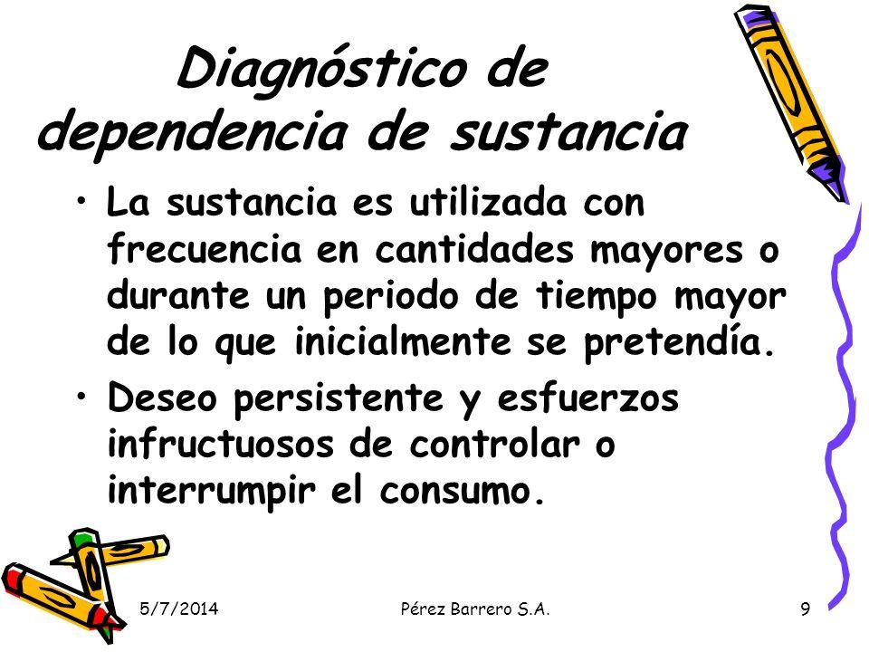5/7/2014Pérez Barrero S.A.10 Diagnóstico de dependencia de sustancia Se emplea la mayor parte del tiempo en actividades relacionadas con la obtención de la sustancia, bajo los efectos de la sustancia o la recuperación de dichos efectos.